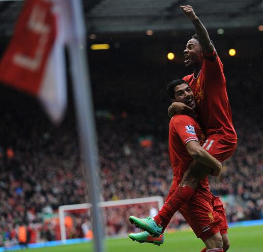 Raheem Sterling Celebrates His Fifth Goal of the Season Against Arsenal.