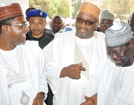 FROM LEFT: GOV. ISA YUGUDA OF BAUCHI STATE; NATIONAL CHAIRMAN OF PDP, SEN. ADAMU MU'AZU AND CHAIRMAN, PDP, BAUCHI STATE, ALHAJI IBRAHIM YARO-YARO, AT THE CIVIC RECEPTION IN HONOUR OF THE  NATIONAL CHAIRMAN OF PDP IN BAUCHI ON SATURDAY (1/2/14).