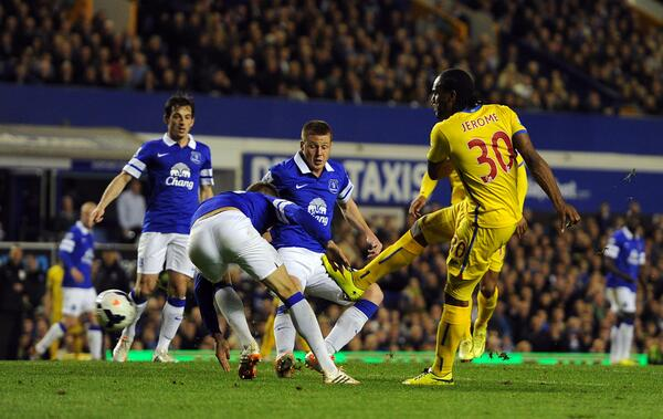 Cameron Jerome fires in Palace's 3rd during their stunning 3-2 win at Everton. Getty Image.