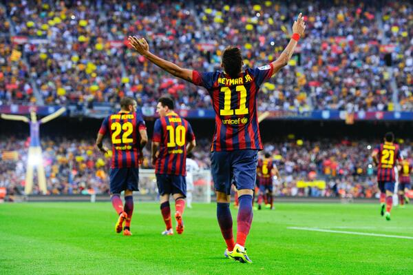 Neymar Celebrates His First El Clasico Strike at the Nou Camp.
