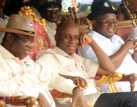 FROM LEFT: RIVERS NLC CHAIRMAN, MRCHRIS ORUGE; GOV. CHIBUIKE AMAECHI AND CHAIRMAN, RIVERS TRADE UNION CONGRESS, MR CHIKA ONUOGBU, DURING 2014 MAY DAY CELEBRATION IN PORT HARCOURT ON THURSDAY (1/5/14).