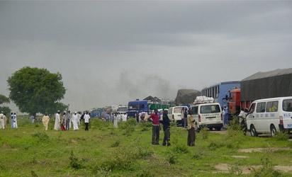 FILE PHOTO: STRNADED TRAVELERS ON THEIR WAY TO MAIDUGURI