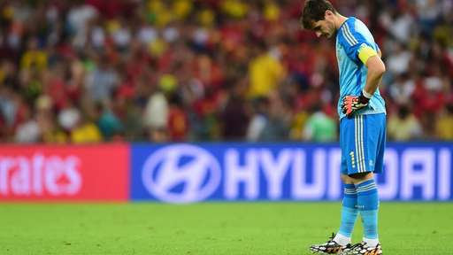 Iker Casillas Buries His Head After Another Error Against Chile.