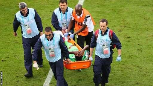 Obaobona Stretchered Off After Being Hit on His Foot With Sharp Studs By an Iranian Forward. Getty image.