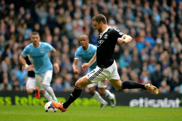 Rickie Lambert Converts a Penalty Against Manchester City in a Premier League Clash.