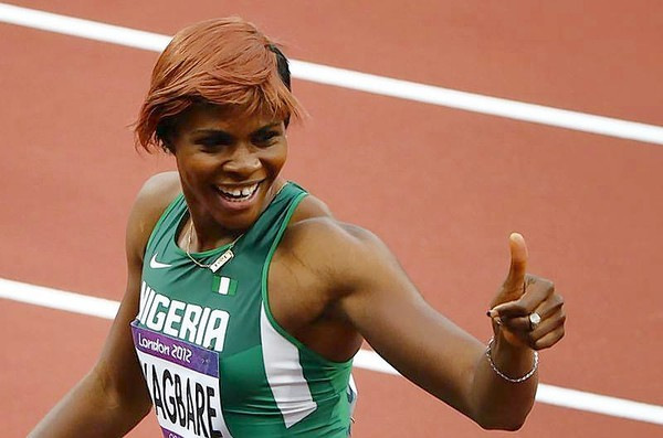 Blessing Okagbare Gives Her Fans Thumbs Up During the London 2012 Olympic Games. Image: Reuters.