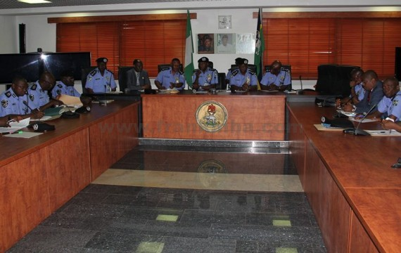 THE IG AND TOP POLICE ECHELON AT A MEETING YESTERDAY AT FORCE HEADQUARTERS