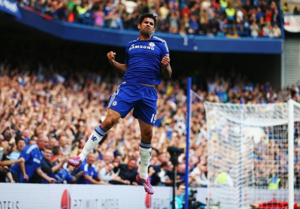 Diego Costa Pumps His Fist After Scoring His Second Goal of the 2014/15 EPL Season. Image: Getty.
