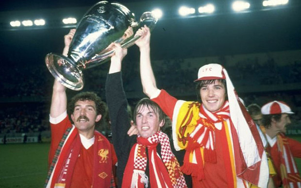 Liverpool's Graeme Souness, Kenny Dalglish and Alan Hansen celebrate winning the 1981 European Cup final against Real Madrid Photo: ALLSPORT