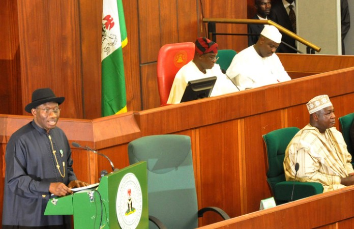 PRESIDENT JONATHAN PRESENTING 2013 BUDGET PROPOSAL TO NATIONAL ASSEMBLY