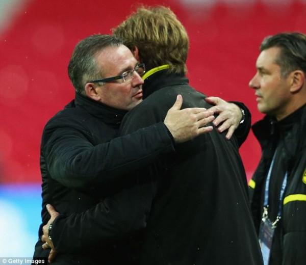 Paul Lambert and Jurgen Klopp Watched Dortmund Train At Wembley.