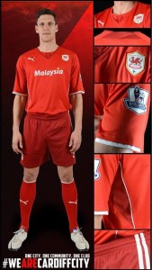 Cardiff City's Two-Tone Red Home Kit.
