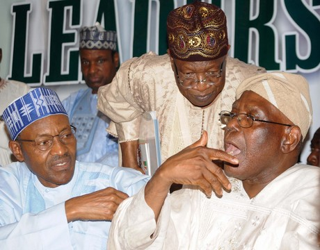 FROM LEFT: FORMER HEAD OF STATE, GEN. MUHAMMADU BUHARI; INTERIM NATIONAL PUBLICITY SECRETARY, ALL PROFRESSIVES CONGRESS (APC), ALHAJI LAI MOHAMMED AND INTERIM NATIONAL CHAIRMAN, CHIEF BISI AKANDE, AT AN APC LEADERS MEETING IN ABUJA ON WEDNESDAY