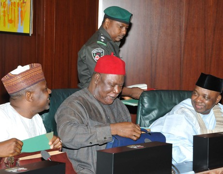 FROM LEFT: HEAD OF THE CIVIL SERVICE OF THE FEDERATION, ALHAJI BUKAR AJI; SECRETARY TO THE GOVERNMENT OF THE FDERATION, SEN. ANYIM PIUS ANYIM AND VICE PRESIDENT NAMADI SAMBO, AT THE FEDERAL EXECUTIVE COUNCIL MEETING IN ABUJA ON WEDNESDAY
