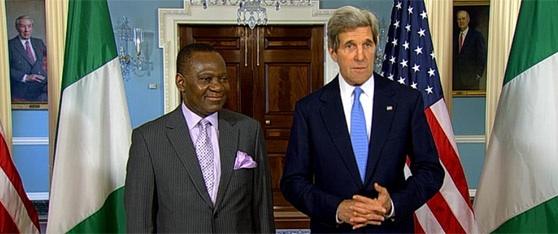 L-R: NIGERIA'S MINISTER OF FOREIGN AFFAIRS, AMBASSADOR OLUGBENGA ASHIRU & US SECRETARY OF STATE, SENATOR JOHN KERRY
