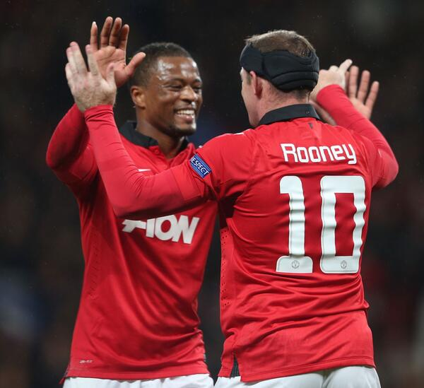 Patrice Evra celebrates Wayne Rooney's Goal in a Champions League Match.