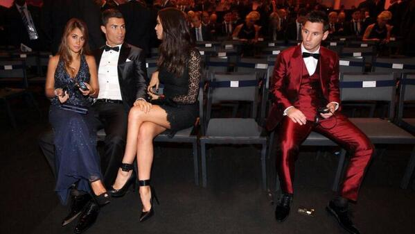Ronaldo and His Russian Wife Irina Shayk Shares Joke On Arrival at the Zurich's Kongresshaus- Pictured By the Right is Fellow Golden Ball Nominee, Lionel Messi.