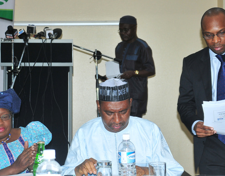 FROM LEFT: MINISTER OF FINANCE AND COORDINATING MINISTER OF ECONOMY, DR NGOZI OKONJO-IWEALA; SUPERVISING MINISTER OF NATIONAL PLANNING, AMB. BASHIR YUGUDA AND STATISTICIAN-GENERAL OF THE FEDERATION, DR YEMI KALE, AT THE   NEWS CONFERENCE ON REBASING OF NIGERIA'S  GSP IN ABUJA ON SUNDAY (6/4/14).