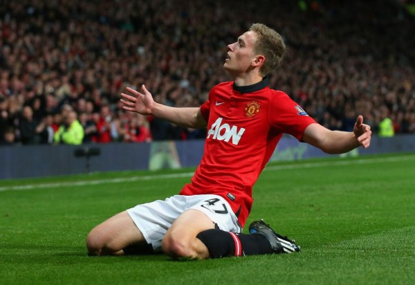 James WIlson Celebrates His First League Goal for Manchester United.
