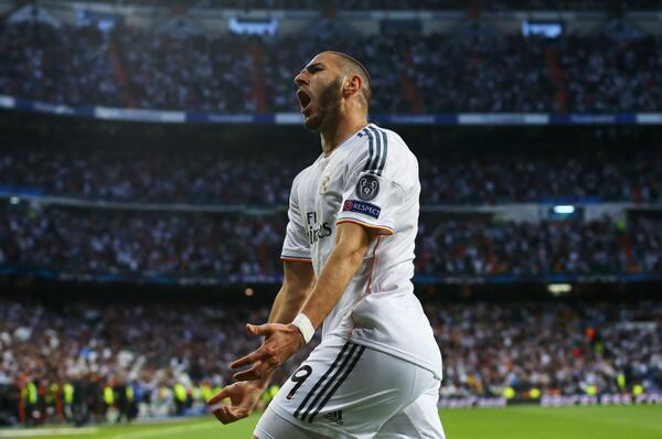 Karim Benzema Celebrates Scoring Against Bayern Munich in the Semi-Finals of the 2013/14 Champions League. Image: Getty Image.