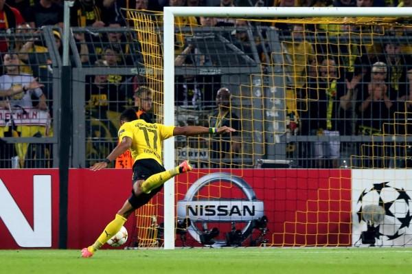 Gabonese Pierre-Emerrick Aubameyang Scores Against Arsenal In Dortmund. Image: AP.
