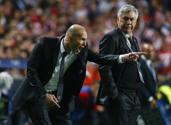 Zinedine Zidane Served as Carlo Ancelotti's Assistant Last Season. Image: Getty.