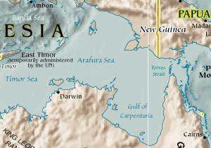 Map of Arafura Sea