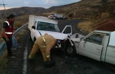 Lesionado en choque de camionetas