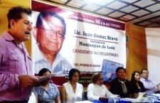 Con legalidad, se promueve candidatura no registrada de Juan Gómez Bravo: Colectivo ciudadano