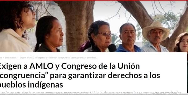 """Exigen a AMLO y Congreso de la Unión """"congruencia"""" para garantizar derechos a los pueblos indígenas"""