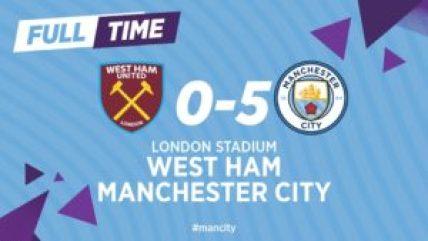 Manchester City goleia o West Ham e já lidera a Premier League