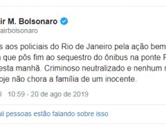 Bolsonaro parabeniza policiais por ação contra sequestro no Rio