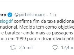 Jair Bolsonaro confirma, através de ministro, fim da taxa adicional cobrada na tarifa de embarque internacional