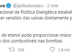 Jair Bolsonaro comunica que Conselho Nacional de Política Energética aprovou diretrizes de venda direta de etanol para baratear o preço dos combustíveis nas bombas