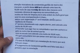 Foto de Mulher com deficiência mental teria escrito carta que anunciava cobrança de taxa nos Macacos (TCP)