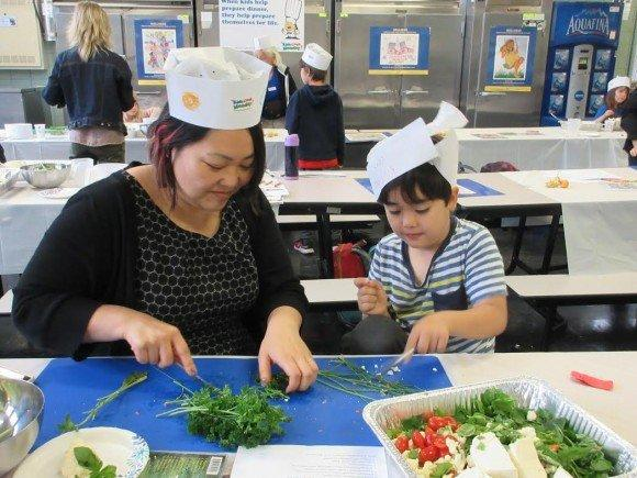 Participants at a recent Family Cooking Night at P.S. 32
