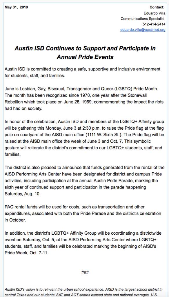 AISD Press Release