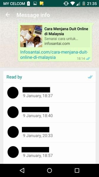 Cara mengetahui status msg whatsapp anda