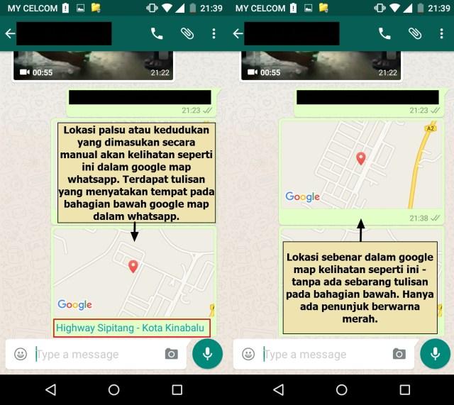 Cara mengetahui kedudukan palsu dan sebenar melalui whatsapp