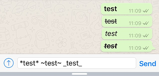 WhatsApp Bold Italic Strikethrough