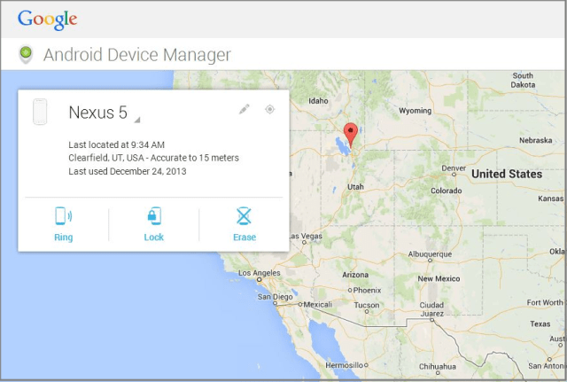 lokasi handphone dipaparkan dalam android device manager