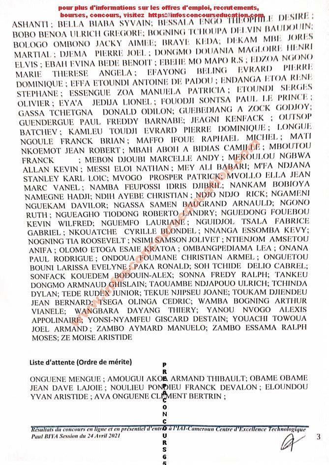 résultats du concours en ligne et en présentiel d'entréé à l'iai-cameroun centre d'excellence technologique paul biya année académique 2021-2022 session du 24 avril 2021