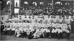 A photograph taken before Game 8 of the 1903 W...