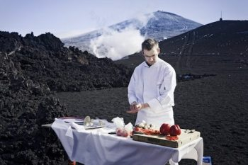 Chef Cooks BBQ on Volcano 1