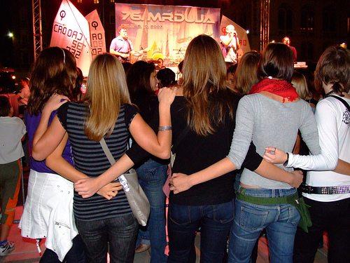 Teenage girls at concert in Split
