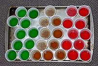 A tray of gelatin shots prior to refrigeration