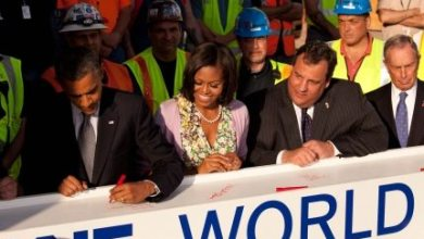 Photo of Beam Signed By President Obama Installed at World Trade Center