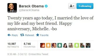 Happy Anniversary Tweets From Barack and Michelle Obama 5