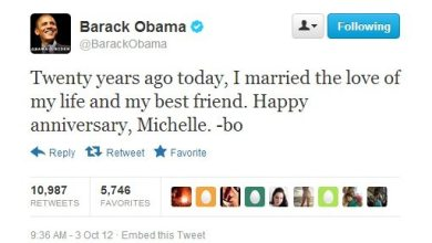 Photo of Happy Anniversary Tweets From Barack and Michelle Obama