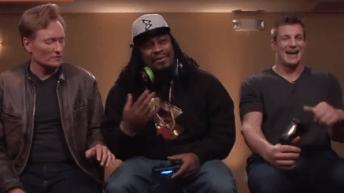 "Marshawn Lynch and Rob Gronkowski Play ""Mortal Kombat X"" With Conan O'Brien 1"